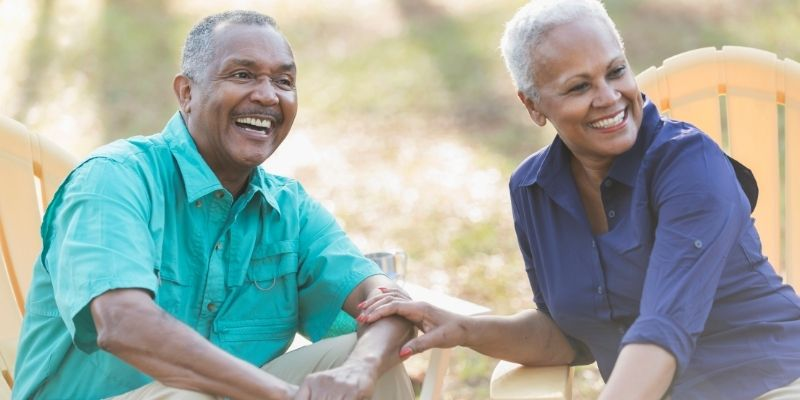 African American couple enjoys outdoor living