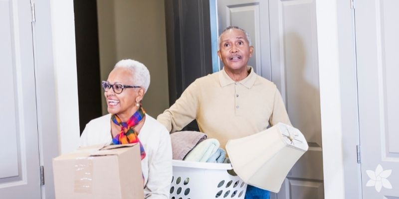 African American couple transition into senior living.